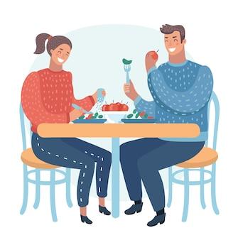 Casal jantando em um café de rua