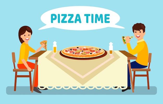 Casal jantando na ilustração plana de pizzaria