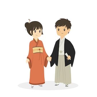 Casal japonês bonito no vestido tradicional de quimono, desenhos animados