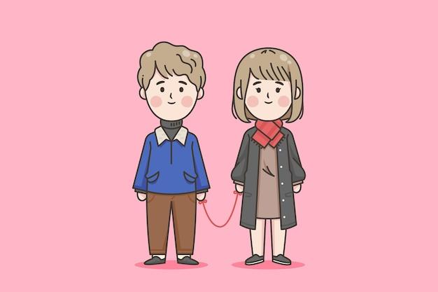 Casal japonês com fio vermelho
