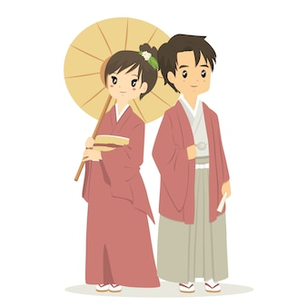 Casal japonês no vestido tradicional de quimono, vetor de desenhos animados.