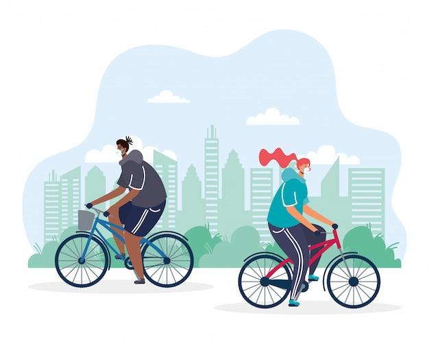 Casal jovem andando de bicicleta usando ilustração de máscaras médicas