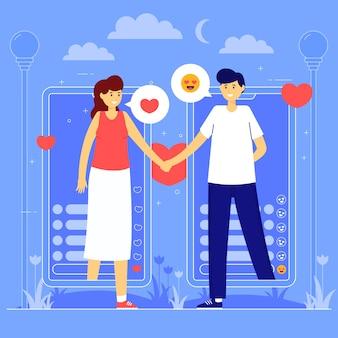 Casal jovem bonito na ilustração de amor