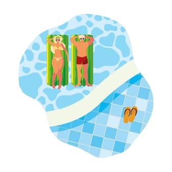 Casal jovem com colchão de bóia na água
