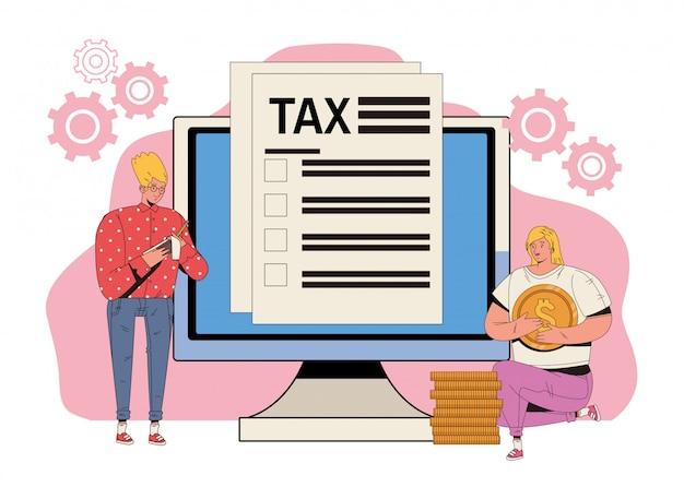 Casal jovem com impostos e área de trabalho