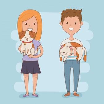 Casal jovem com mascotes fofos