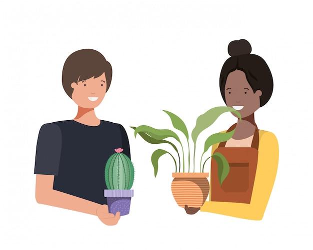 Casal jovem com personagem de avatar de planta de casa