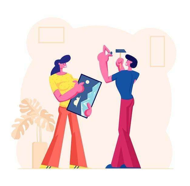 Casal jovem decorando a sala de estar, ilustração plana dos desenhos animados