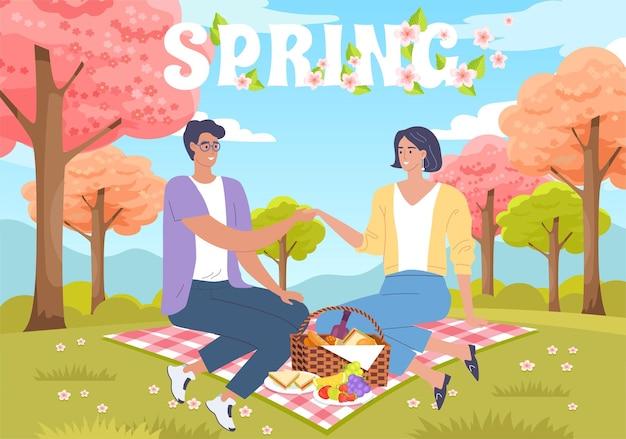 Casal jovem e fofo e feliz em um piquenique romântico