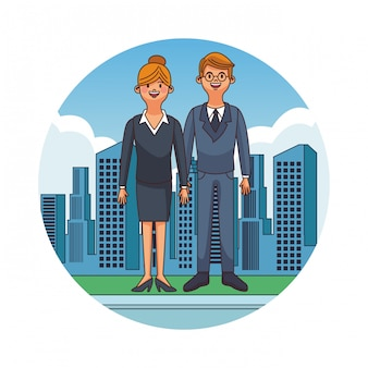 Casal jovem e fofo na cidade rodada ícone vector design gráfico ilustração