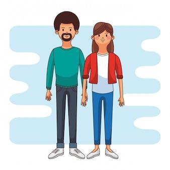 Casal jovem e fofo sobre design gráfico de ilustração vetorial de fundo colorido