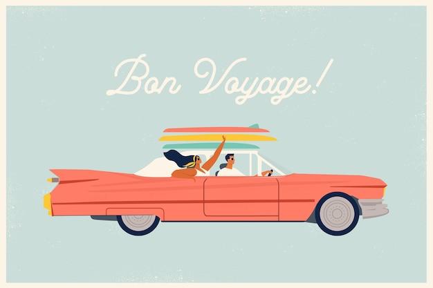 Casal jovem e moderno e feliz e moderno e apaixonado fazendo uma viagem de carro vermelho
