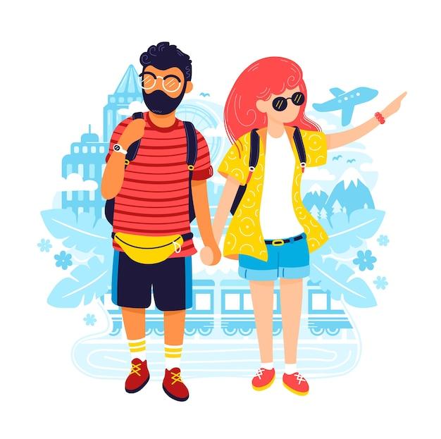 Casal jovem e mulher em viagem.