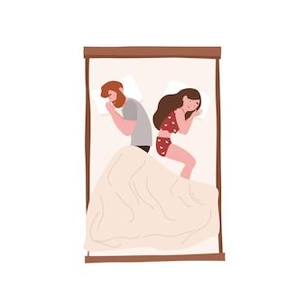 Casal jovem feliz dormindo de costas para a noite. parceiros românticos deitados na cama. linda garota e menino cochilando, cochilando ou cochilando em casa. descanse ou repouse. ilustração em vetor colorido plana dos desenhos animados.
