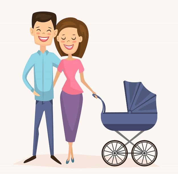 Casal jovem feliz família com carrinho de bebê