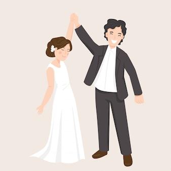 Casal jovem feliz na ilustração do vestido de casamento