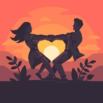Casal jovem romântico, furando as mãos e girando em torno, formando um coração