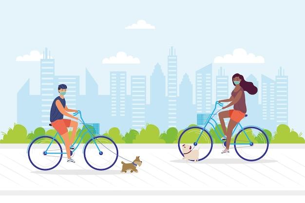 Casal jovem usando máscara medial em bicicletas com design de ilustração de animais de estimação