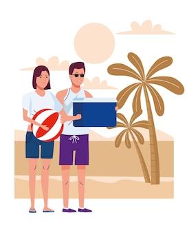 Casal jovem vestindo maiôs com balão e caixa de geladeira na praia ilustração vetorial
