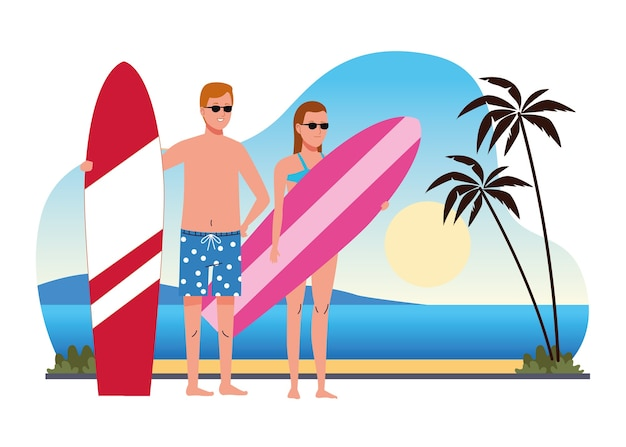 Casal jovem vestindo maiôs e pranchas de surf na cena da praia