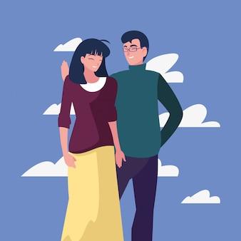 Casal juntos caracteres ao ar livre