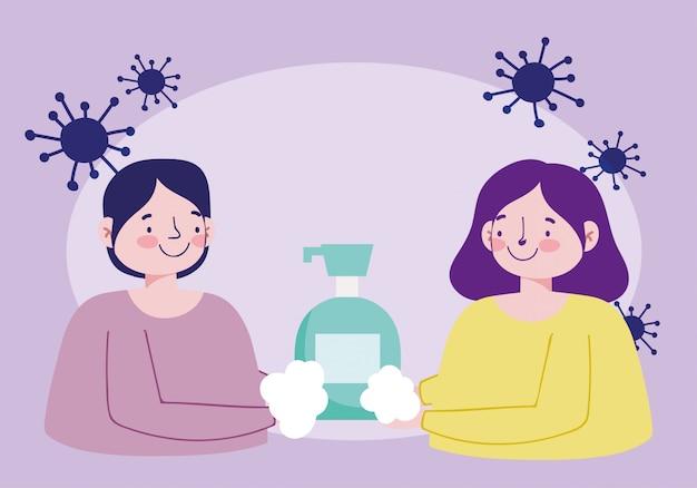 Casal lavando as mãos com sabonete líquido, prevenção pandêmica de 19 coronavírus