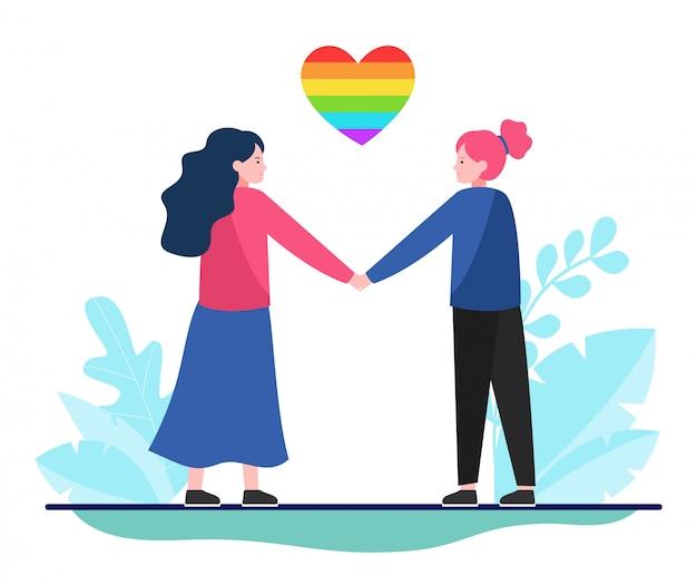 Casal lésbica com coração de arco-íris