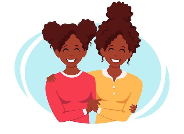 Casal lgbt de família lésbica afro-americana