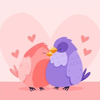 Casal lindo pássaro do dia dos namorados