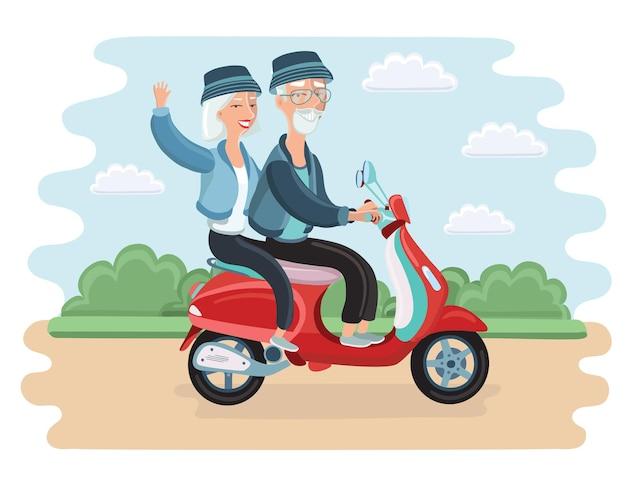 Casal maduro aventureiro andando de scooter