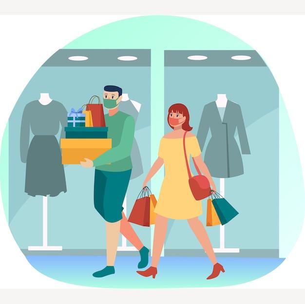 Casal mascarado está fazendo compras juntos em algum shopping durante a nova ilustração normal