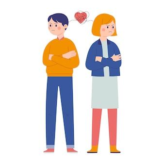 Casal masculino e feminino brigando e olhando para longe