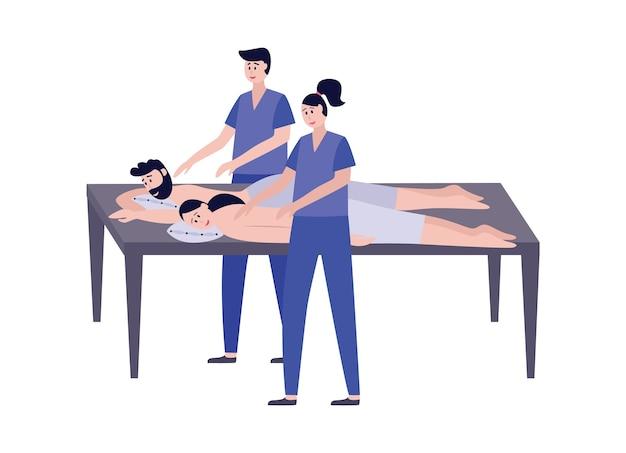 Casal massagem relaxante procedimento de spa para duas cenas