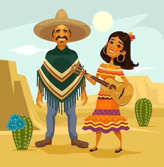 Casal mexicano. ilustração plana dos desenhos animados