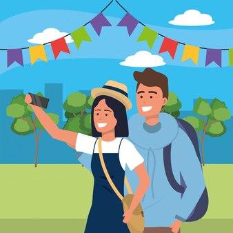 Casal milenar data parque ilustração