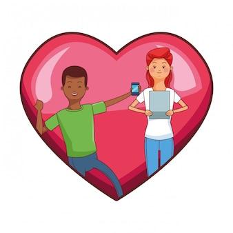 Casal milenar no desenho de moldura de coração