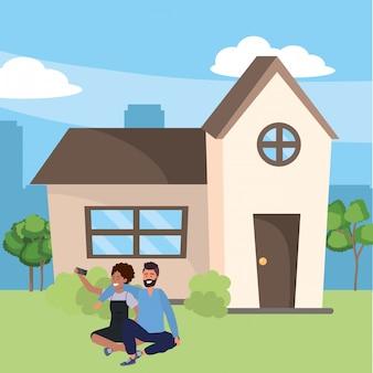 Casal millennial casa alpendre