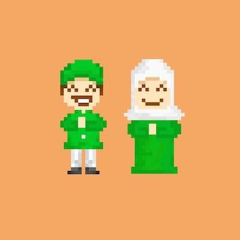 Casal muçulmano com estilo pixel art