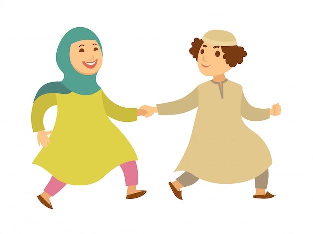 Casal muçulmano da arábia saudita ou crianças felizes andando personagens de desenhos animados