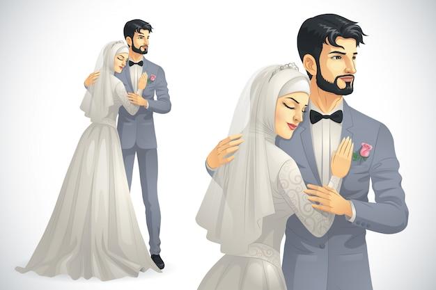 Casal muçulmano do casamento
