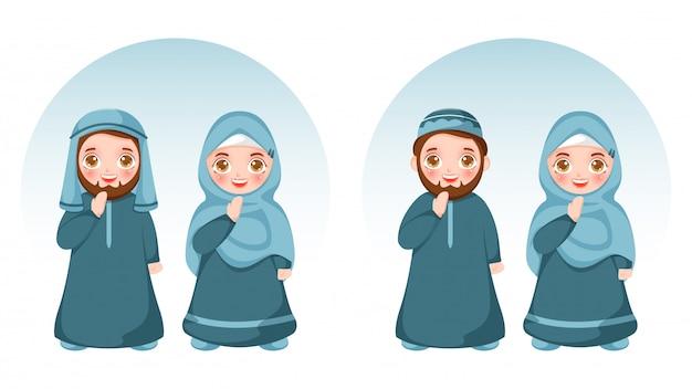 Casal muçulmano dos desenhos animados, vestindo trajes tradicionais em pose de salam ou aadab.