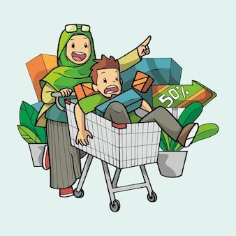 Casal muçulmano fazendo compras no supermercado carregando um carrinho