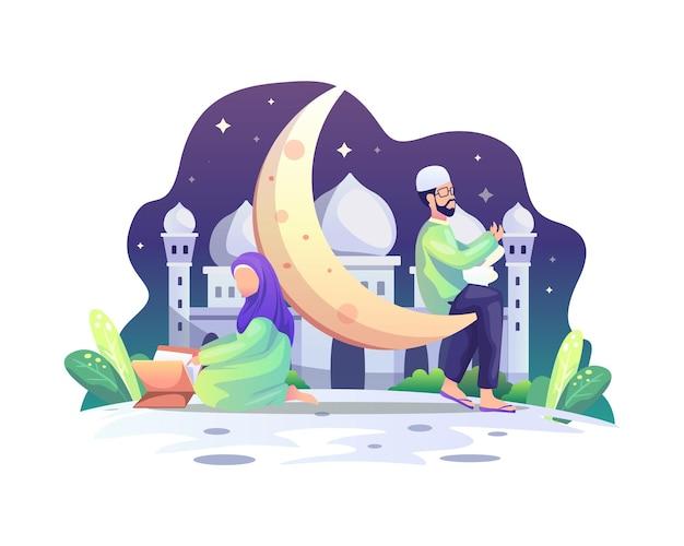 Casal muçulmano lendo o alcorão e rezando ilustração