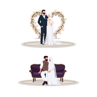 Casal muçulmano no dia do casamento conjunto de caracteres sem rosto de cor lisa. decoração floral. recém-casado no local da foto. ilustração dos desenhos animados de casamento isolado para web design gráfico e coleção de animação
