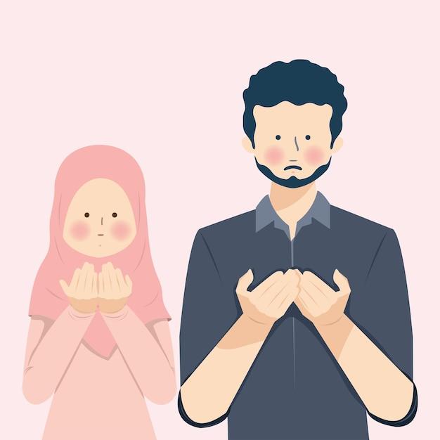 Casal muçulmano orando dua