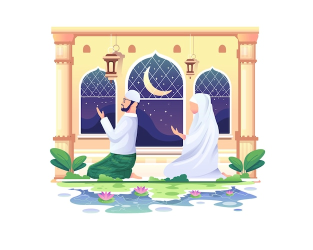 Casal muçulmano orando em uma mesquita no ramadan kareem, feliz eid mubarak ilustração