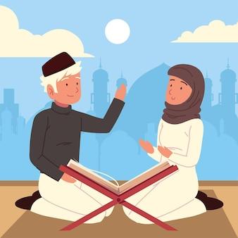 Casal muçulmano rezando com alcorão