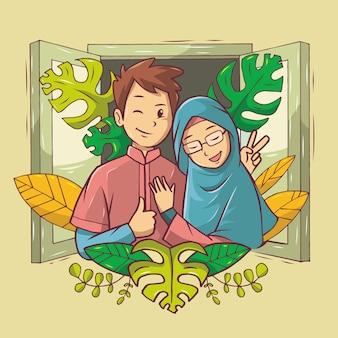 Casal muçulmano romântico com roupas rosa e azul na janela