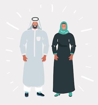 Casal muçulmano usando trajes tradicionais