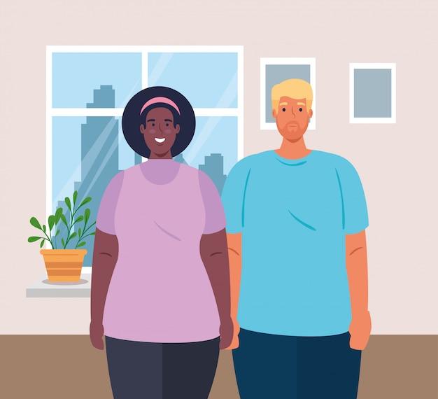 Casal multiétnico na casa, conceito cultural e diversidade